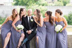 Galt, purple bridesmaid dresses, bridesmaids kissing groom, 5 bridesmaids and a groom, Cambridge, Ontario, Canada wedding photography experts | Anne Edgar Photography