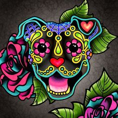 Smiling Pit Bull in Brindle - Day of the Dead Happy Pitbull - Sugar Skull Dog