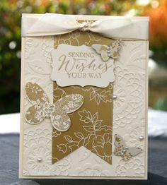 Krystal's Cards: Stampin' Up! Butterfly Bundle Vanilla and Gold #stampinup #krystals_cards #butterflybasics #butterflybundle #papercrafts #cardmaking #handstamped #stampsomething #sharethefun #sendacard