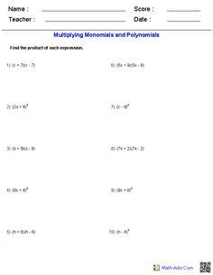 math worksheet : naming monomials and polynomials worksheets  math aids com  : Adding And Subtracting Monomials Worksheet