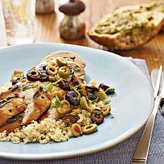 Low-cal, low-fat, delicious Lemon-Olive Grilled Chicken
