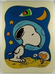 SNOOPY IN SPACE WITH THE MOON AND THE STARS  Space