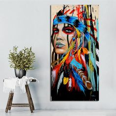 Native american indian girl feathered canvas painting for living room wall art home décor unframe Diy Canvas, Wall Canvas, Canvas Art, Canvas Prints, Canvas Ideas, Canvas Paintings, Wall Prints, Wall Art, American Indian Girl
