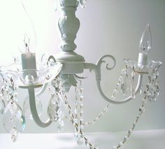 Vintage Chandelier White Antique 1930s