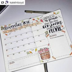 "1,191 Likes, 14 Comments - Bullet Journal Inspire  (@bujoinspire) on Instagram: ""Calendário de novembro! Já fez o seu? #Repost @katelinboyd with @repostapp ・・・ November spread…"""