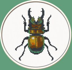 StagBeetle  PDF Downloadable Printable Cross by CrossStitchDiver, $3.50