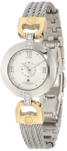 Charles-Hubert, Paris Women's 6809-T Premium Collection Two-Tone Stainless Steel Wire Bangle Watch - Rellek Jewelry