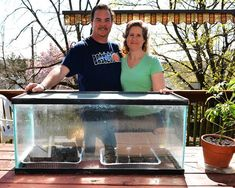 Steve Allen and Carole Ondrovic used an old fish tank to make a greenhouse. Cheap Greenhouse, Home Greenhouse, Homemade Greenhouse, Greenhouse Wedding, Greenhouse Ideas, Aquaponics System, Hydroponics, Backyard Aquaponics, Cool Things To Make