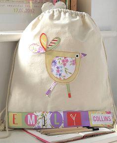 personalised girl's bird nursery bag by constantine jo   notonthehighstreet.com