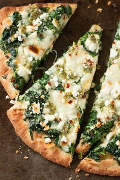 Aiming to eat more veggies? This Three Cheese Pesto Spinach Flatbread Pizza…