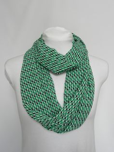 Green Infinity Scarf/ Spring Scarf/ Womens Infinity/ Patterned
