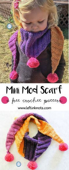 "This simple and modern scarf is adorned with pom poms and is perfect for children. My ""mod scarf"" crochet patterns are some of my favorites, so I decided to make a mini version for my daughter! Keep reading for the free Caron Cakes crochet pattern."