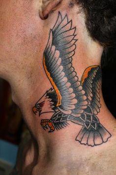 Dan Power - Traditional Eagle Neck Tattoo