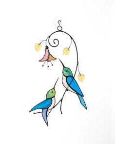 Hummingbird Gift Birds Stained Glass Medium Aqua and Turquoise Blue Hummingbird Suncatcher Nature Decor