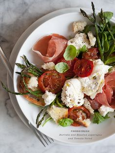 Burrata and Roasted Asparagus and Tomato Salad