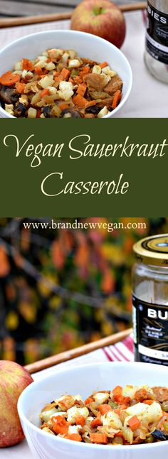 Nothing says Autumn like this Vegan Sauerkraut Casserole! Crisp apple, tangy sauerkraut, and potatoes in a spicy mustard sauce. It's like October in a bowl!