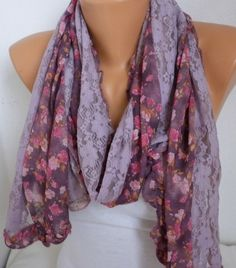 ON SALE - Pale Lilac Scarf Shawl Scarf Cowl Scarf Floral  Multicolor Gift for Her - fatwoman