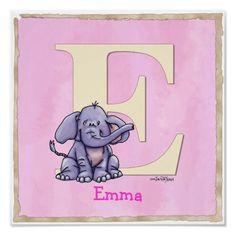 E is for an Elephant - artwork by Lynda Bruschini. © Bruschini - Kennedy Just for the L of it, LLC. All Rights Reserved.