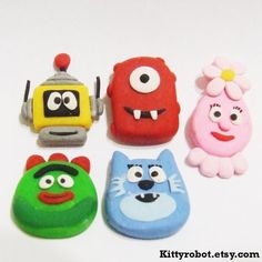 Yo Gabba Gabba handmade clay buttons for scrapbooking sewing and crafting   #YoGabbaGabba