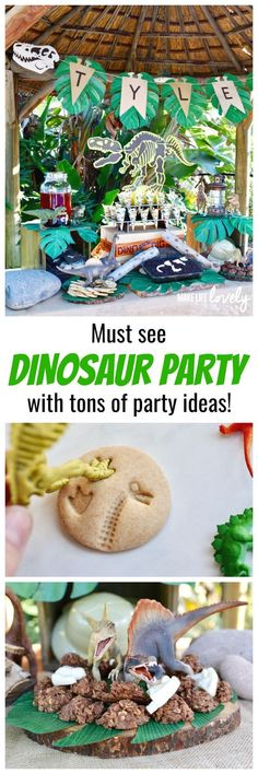 Cool Dinosaur Birthday Party banner plus fossil cookies.