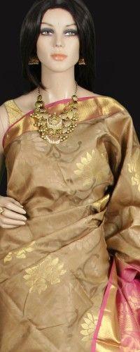 Beige Gold Kanjeevaram Saree with Pink Tissue
