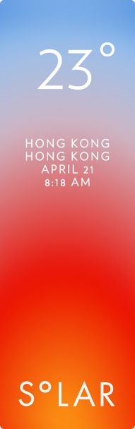 Hong Kong weather has never been cooler. Solar for iOS.