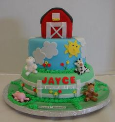 Barnyard Birthday Cake from Creative Cake Factory featured on Theme A Party