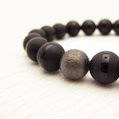 Black Onyx Men's Bracelet with Oxidized Sterling Silver