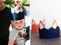 A Fox Themed Birthday Party | Bonjour Berry. Theo's favorite animal, foxes! Adorable easy to make hats
