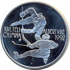 Moneda de plata 500 Forint Hungria 1989 Albertville 92 Hockey.