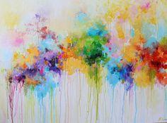 Acryl, abstrakte Malerei, abstrakte Kunst, abstrakte Landschaft, große abstrakte Malerei, Colorfu Leinwand Kunst