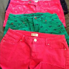 4 Shorts excellent condition. One Jessica Simpson short never used with out tags and the other two are brand SO my daughter never used them NWOT and the other one is wall flower brand used once .. They don't fit her. 4 Very cute shorts . They are in excellent condition. Shorts