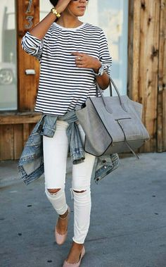 Striped Blouse White Skinny Jeans Outfit Love the white jeans Spring Summer Fashion, Autumn Fashion, Spring Style, Spring Wear, Spring 2015, Summer 2015, Spring Girl, Spring Looks, Spring Trends