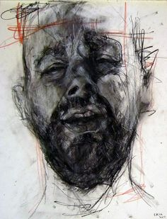 Male Portrait, Charcoal and Ink Line Drawing, by C Kirk.