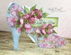 Verity Cards: Sparkly Shoes made with the Flowering Dogwood and All Glammed up Collections. #heartfeltcreations