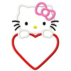 Kitty Valentine's Day Heart Applique Embroidery Design 4x4 5x7 6x10 Hello INSTANT DOWNLOAD