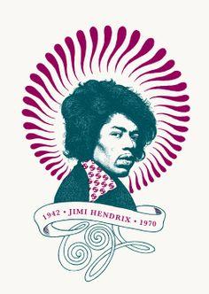 "RS177 - ""Jimi Hendrix"" Icon card by Ben Lamb Illustration & Design"