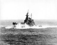 [Photo] USS North Carolina in heavy seas, off the Philippine Islands, 12 Dec 1944, photo 1 of 2 | World War II Database