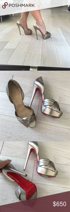 Louboutins gold Christian Louboutins: gold, open toes, I do not have the box for these but I do have the dust bag. Please note these at size 38. And it is 5 inch heels. Please know your size before purchasing. Christian Louboutin Shoes Heels
