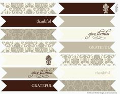 elegant thanksgiving printables - place cards, food tent cards, food labels / candy labels, straw / cupcake flags and thank you cards!