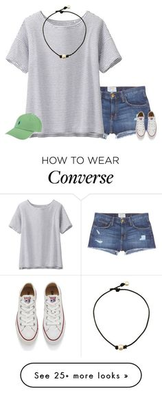 """Got This Hat For Summer!"" by evieleet on Polyvore featuring Current/Elliott, Uniqlo, Ralph Lauren, Converse, women's clothing, women, female, woman, misses and juniors"