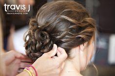 Wedding Hair Up Do, Side Bun with curls, Travis J Photography, Colorado
