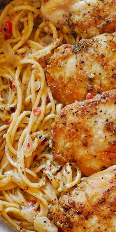Italian Chicken Pasta in Creamy White Wine Parmesan Cheese Sauce will remind you of your favorite dinner experience! Ingredients include: chicken breasts, flour, salt and pepper, garlic, Italian seasoning, olive oil, spaghetti (pasta), butter, onion, scallions, tomatoes, heavy cream, white wine, Parmesan cheese, red pepper flakes. #chickenpasta #spaghetti #italianfood #italianrecipe #whitewine #italianseasoning #chickenrecipe #breadedchicken #parmesan #cheesesauce #winesauce #thanksgiving Dinner Dishes, Pasta Dishes, Food Dishes, Main Dishes, Italian Chicken Pasta, Creamy Chicken Pasta, Italian Dishes, Italian Recipes, Chipotle