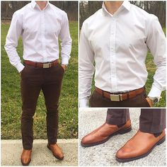 Tuesday 🙌🏼👌🏼👍🏼👍🏼🔥🔥 I really like the way this crisp, white shirt looks with the shades of brown in these chinos, belt, and boots❗️ I… Formal Men Outfit, Moda Formal, Formal Shirts For Men, Style Masculin, Herren Outfit, Business Outfit, Men's Wardrobe, Gentleman Style, Office Outfits