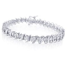 Save $1,321.00 on 10K White Gold Diamond S-Link Tennis Bracelet (1 cttw, J-K Color, I2-I3 Clarity) - 7; only $642.00 + Free Shipping