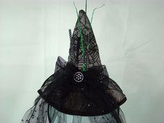 Dandee Headband Halloween Mini Witch Hat Spiderweb Black Veil Bow Rhinestones