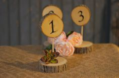 6 Standing Log Slice Table Numbers - Woodland Wedding - Unique Wedding Decor - Rustic Table Number - Rustic Home Decor - Country Wedding