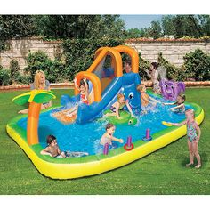 Kids Pools With Slides plastic kiddie pool: banzai slide 'n splash alligator pool