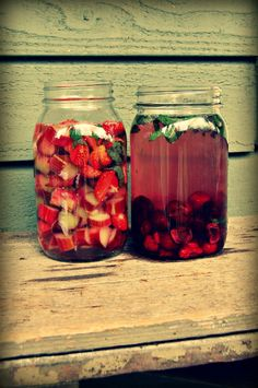 Homemade Vitamin Water- supercharge your immune system with strawberries, rhubarb & cherries.