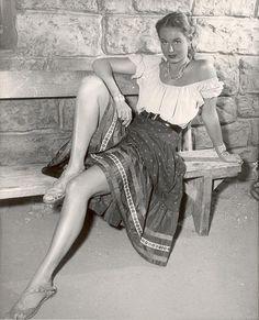 COLORADO TERRITORY (1949) - Virginia Mayo as outlaw Joel McCrea's half breed girlfriend 'Colorado Carlson' - Directed by Raoul Walsh - Warner Brothers - Publicity Still.